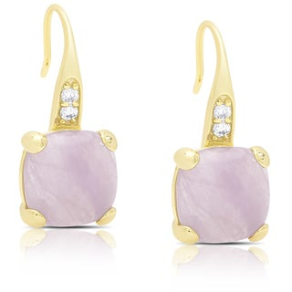 Dolce Giavonna Gold Over Sterling Silver Cubic Zirconia and Dyed Lavender Jade Dangle Earrings