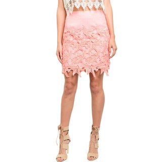 Shop the Trends Women's Scalloped Crochet Design Woven Skirt