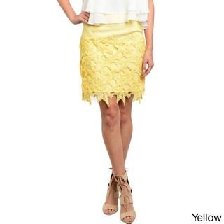 Shop the Trends Women's Scalloped Crochet Design Woven Skirt (2 options available)