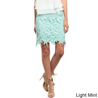 Shop the Trends Women's Scalloped Crochet Design Woven Skirt