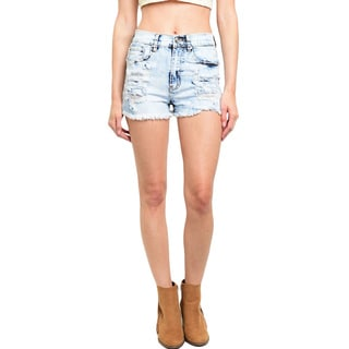 Shop the Trends Women's High Waisted Light Wash Denim Shorts With Frayed Hem