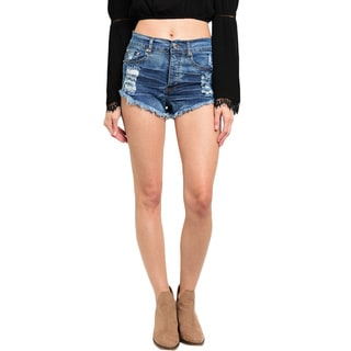 Shop the Trends Women's High Waisted Dark Wash Denim Shorts With Frayed Hem