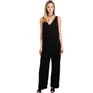 Shop the Trends Women's Sleeveless Scalloped Trim V-Neckline Woven Jumpsuit With Flounce Bodice