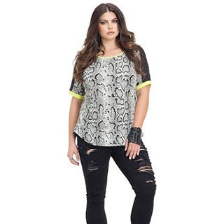 Full Figured Fashionista Women's Plus Size Snake Print T-Shirt with Neon Trim
