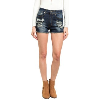 Shop the Trends Women's Dark Denim Mid Rise Waist Shorts
