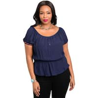 Shop the Trends Women's Plus Size Short Sleeve Woven Top
