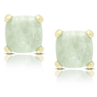 Dolce Giavonna Gold Over Sterling Silver New Jade Square Stud Earrings