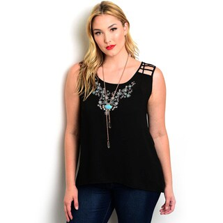 Shop the Trends Women's Plus Size Sleeveless Round Neck Woven Top