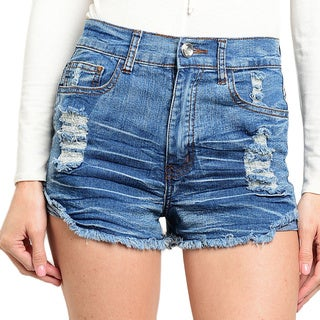 Shop the Trends Women's Mid Rise Denim Shorts With 5 Panel Pockets