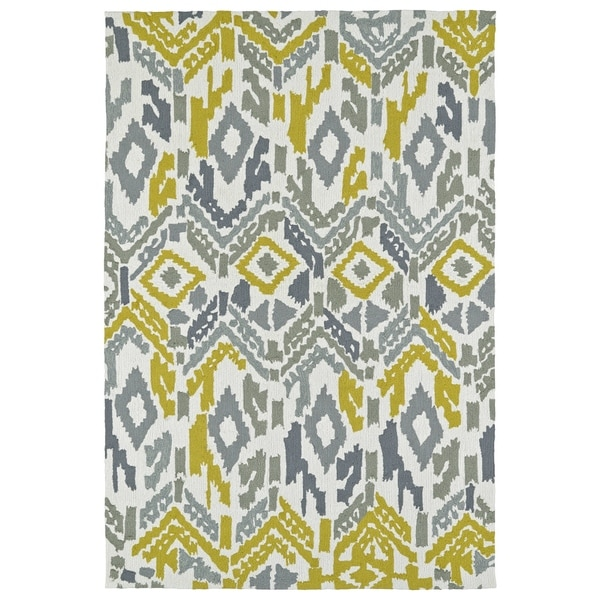 Seaside Ivory Ikat Indoor/Outdoor Rug - 8' x 10'