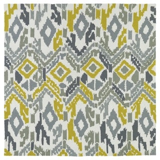 Seaside Ivory Ikat Indoor/Outdoor Rug (7'9 x 7'9 Square)