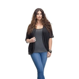 Full Figured Fashionista Women's Plus Size Lightweight Shrug in Black