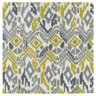 Seaside Ivory Ikat Indoor/Outdoor Rug (5'9 x 5'9 Square)