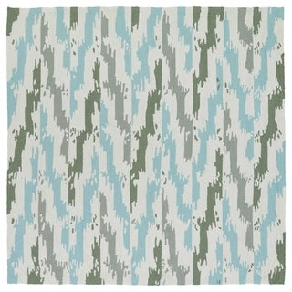 Seaside Ivory and Blue Ikat Indoor/Outdoor Rug (5'9 x 5'9 Square)