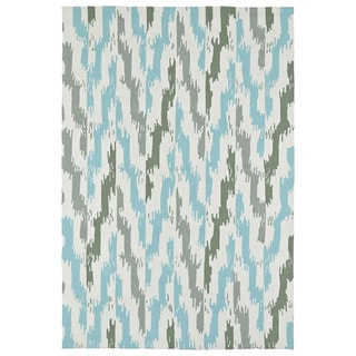 Seaside Ivory and Blue Ikat Indoor/Outdoor Rug (5'0 x 7'6)