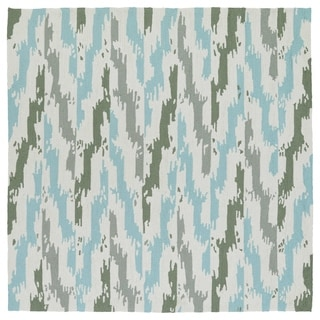 Seaside Ivory and Blue Ikat Indoor/Outdoor Rug (7'9 x 7'9 Square)
