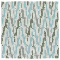 "Seaside Ivory and Blue Ikat Indoor/Outdoor Rug - 7'9"" x 7'9"""