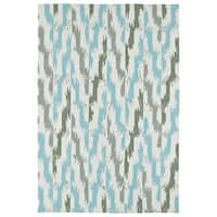 Seaside Ivory and Blue Ikat Indoor/Outdoor Rug - 8' x 10'