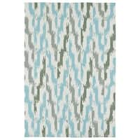 Seaside Ivory and Blue Ikat Indoor/Outdoor Rug - 9' x 12'