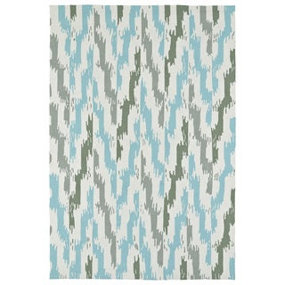 Seaside Ivory and Blue Ikat Indoor/Outdoor Rug (10'0 x 14'0)