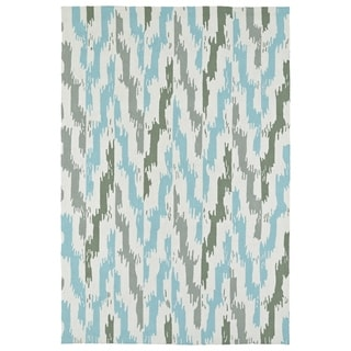 Seaside Ivory and Blue Ikat Indoor/Outdoor Rug (2'0 x 3'0)