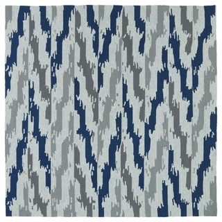Seaside Blue Ikat Indoor/Outdoor Rug (5'9 x 5'9 Square)