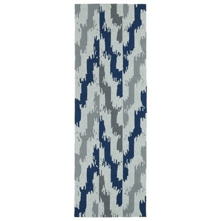 Seaside Blue Ikat Indoor/Outdoor Rug (2'6 x 8'0)