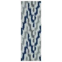 Seaside Blue Ikat Indoor/Outdoor Rug (2'6 x 8')