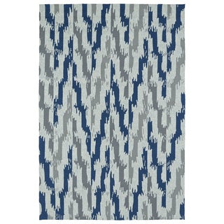 Seaside Blue Ikat Indoor/Outdoor Rug (10'0 x 14'0)