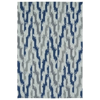 Seaside Blue Ikat Indoor/Outdoor Rug (2'0 x 3'0)