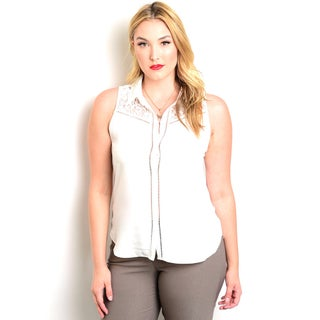 Shop the Trends Women's Plus Size Sleeveless Woven Top