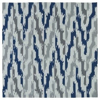 Seaside Blue Ikat Indoor/Outdoor Rug (7'9 x 7'9 Square)