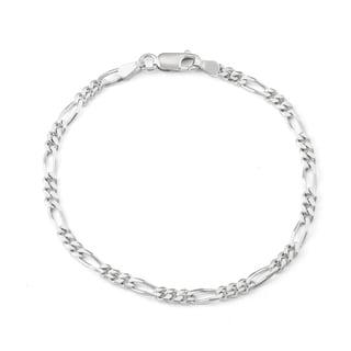 Gioelli Sterling Silver Men's Figaro Chain Bracelet
