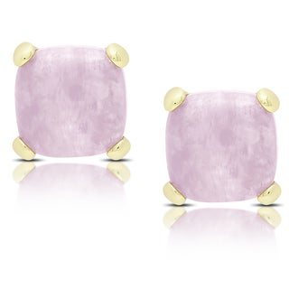 Dolce Giavonna Gold Over Sterling Silver Dyed Lavender Jade Square Stud Earrings
