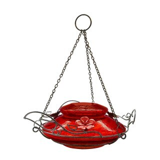 Top Fill Hummingbird Feeder in Green with Leaf Shaped Perch Rings