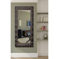 American Made Rayne 31.5 x 72-inch Feathered Accent Extra Tall Wall/ Vanity Mirror - Dark Mahogany