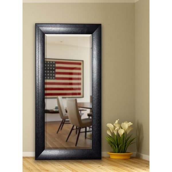 American Made Rayne 30.75 x 71.25-inch Stitched Black Leather Extra Tall Mirror