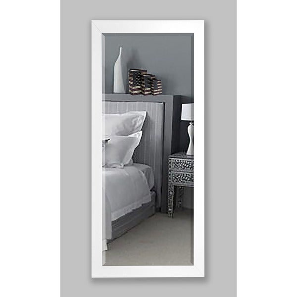 American Made Rayne 30.5 x 71-inch White Satin Wide Extra Tall Wall Vanity Floor Mirror - N/A