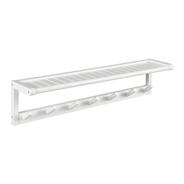 NewRidge Home Abingdon Solid Wood Large Peg Rack with Shelf, White