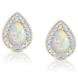Dolce Giavonna Gold Overlay Opal Teardrop Stud Earrings
