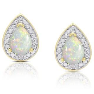 Dolce Giavonna Gold Overlay Opal Teardrop Stud Earrings