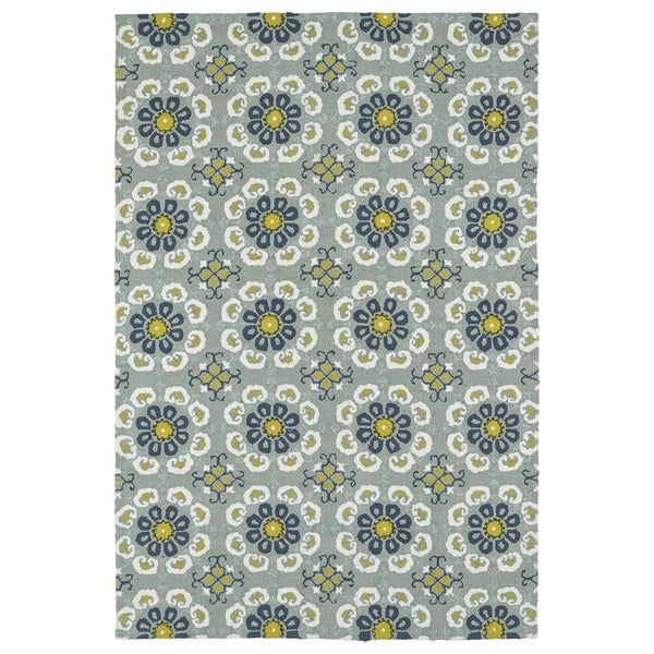 Seaside Pewter Green Floral Indoor/Outdoor Rug (4' x 6')
