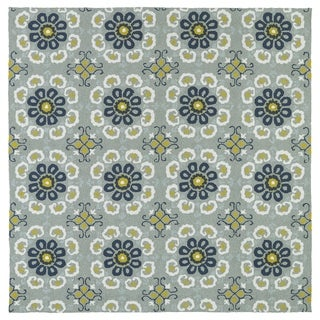 "Seaside Pewter Green Floral Indoor/Outdoor Rug (7'9 x 7'9 Square) - 7'9"" x 7'9"""