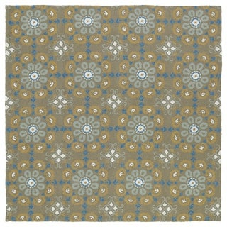 Seaside Brown Floral Indoor/Outdoor Rug (5'9 x 5'9 Square)