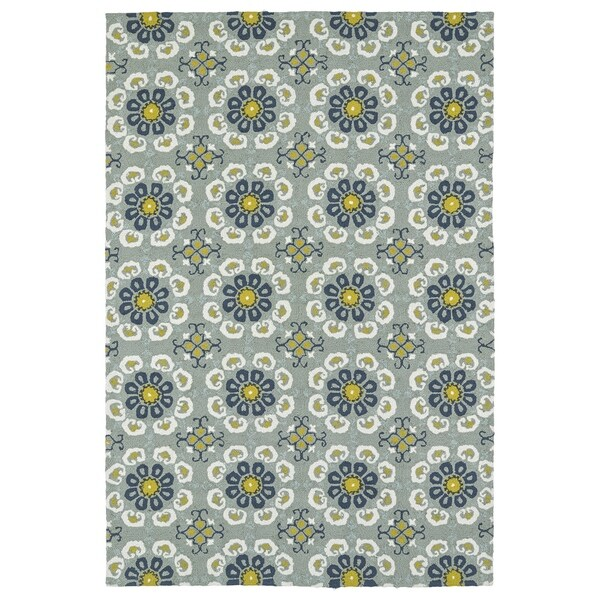 Seaside Pewter Green Floral Indoor/Outdoor Rug - 9' x 12'