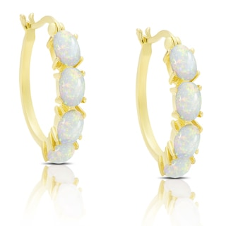 Dolce Giavonna Gold Over Sterling Silver Simulated Opal Hoop Earrings