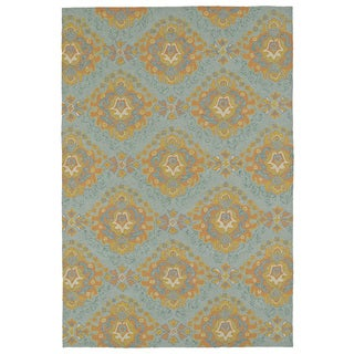Seaside Pewter Green Damask Indoor/Outdoor Rug (10'0 x 14'0)