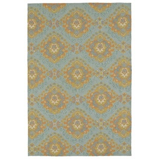 Seaside Pewter Green Damask Indoor/Outdoor Rug (4' x 6')