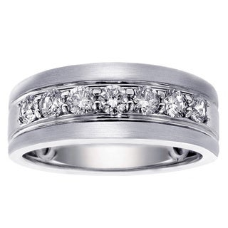 Men's Platinum 1ct TDW Brilliant Cut Satin Finish Diamond Ring