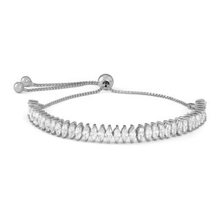 Gioelli Sterling Silver Marquise-cut Cubic Zirconia Adjustable Bracelet